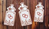 Three Christmas Cards With Two Hearts Sign