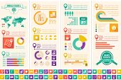 stock photo of graphs  - Flat Infographic Elements plus Icon Set - JPG