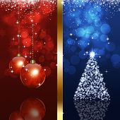 Xmas Blue And Red Background