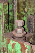 Old Metal Construction Bonded Bolts And Nut
