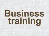 Education concept: Business Training on fabric background