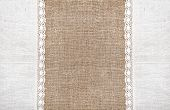 Burlap Background With Linen Lacy Cloth