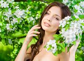 picture of nearly nude  - Portrait of pretty woman touches her face standing near the blossomed tree in the park - JPG