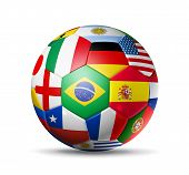 stock photo of isolator  - 3D football soccer ball with world teams flags - JPG