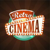stock photo of marquee  - Cool retro cinema sign - JPG