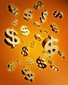Dólar caindo dinheiro conceito