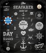 Vector sea set: calligraphic retro design elements and page decoration, Seafarer with Shipbuilder Label collection, anchors and skulls. All for vintage design. Chalkboard, Chalk texture.