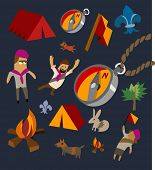 Camping set flat. hand drawn Vector illustration