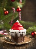 pic of christmas meal  - Christmas Cupcake and Christmas decoration on wooden background - JPG