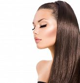 stock photo of ponytail  - Beauty Fashion Model Girl with Long Healthy Brown Hair and Long Eyelashes - JPG