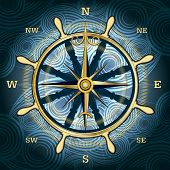 picture of wind wheel  - Illustration with golden compass with wind rose and hand wheel behind against wavy textured background - JPG