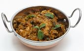 Methi murgh - chicken cooked with fresh fenugreek leaves - in a kadai, or karahi, traditional Indian
