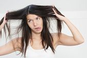 Woman Unhappy With The Condition Her Long Hair
