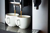 Two White Cups Of Espresso