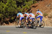 Cyclists on mountain road, Andalusia, Spain.