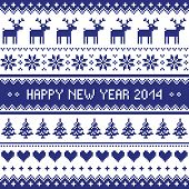 Happy New Year 2014 - scandynavian christmas pattern