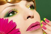 Makeup with gerberas.
