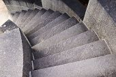Rounded stone staircase