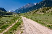 Country road in Tien Shan mountains