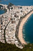 picture of ipanema  - Aerial view of Ipanema and Leblon beach from Two Brothers mountain in Rio de Janeiro - JPG