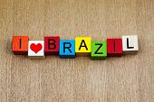 stock photo of brasilia  - I Love Brazil as a sign series for travel destinations and holiday locations - JPG