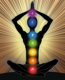 picture of tantra  - Man silhouette in yoga position with the symbols of seven chakras - JPG