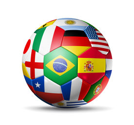pic of flags world  - 3D football soccer ball with world teams flags - JPG