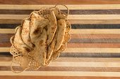 Deliciously Baked Naan Flatbread Slices In Basket On Cutting Board