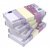 Euro money isolated on white background. Computer generated 3D photo rendering.