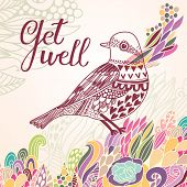Get well concept card in bright colors. Stylish vector background with vintage bird and colorful burst