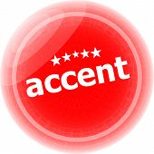 Accent Red Stickers On White, Icon Button