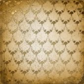 Grunge Brown Background With Ancient Floral Ornament