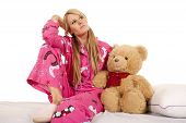 Woman Pink Pajamas Bear Sit Look Side