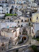 "image of sassy  - Matera (Southern Italy) famous for its ancient town ""Sassi di Matera"" (meaning stones of Matera). Matera Italy - April 23 2013.