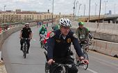 NYPD bike patrol accompanying tour