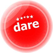 Dare Word Red Web Button, Label, Icon