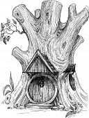 picture of hollow  - Small house in tree hollow sketch - JPG