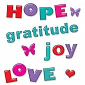 Love Hope Joy Gratitude Text