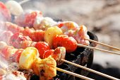 picture of kababs  - chicken shish kebab on bbq grill in sauce on skewers with tomatoes and peppers - JPG