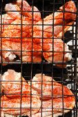 fresh raw chicken wings on barbecue grid over charcoal spread with paprika and red hot pepper ready