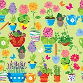 Seamless Pattern With Spring And Summer Flowers In Pots. Ready To Use As Swatch