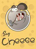 funny cartoon rat with cheese background