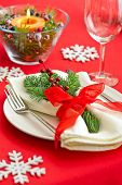Table Setting With Real Tree Decoration