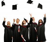 picture of mantle  - Happy multi ethnic group of graduated young students throwing hats isolated on white - JPG