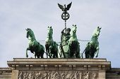 Quadriga on the top of Brandenbrurg gate in Berlin, Germany