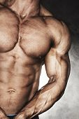 Mid-section of muscular bodybuilder
