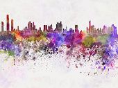 Panama City Skyline In Watercolor Background