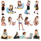 Collage of cute children isolated on white