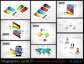 Collection of 9 quality Infographic Templates. A lot of different templates ready to display your da