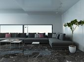 pic of settee  - Picture of airy living room interior with marble floor and couch - JPG
